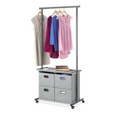 Rebrilliant Rumi W 4 Drawer Garment Rack Portable Wardrobe, Portable Closet, Closet Rod, Wardrobe Closet, Home Office Organization, Organizing Your Home, Organizar Closet, Closets For Sale, Fabric Drawers