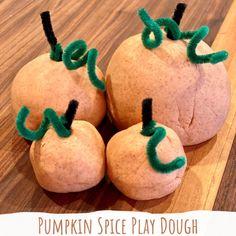 Pumpkin Spice Play Dough Pumpkin Spice Playdough Recipe No Cook, Soft Playdough Recipe, Cooked Playdough, Kindergarten Halloween Party, Kindergarten Classroom, Baby Halloween, Bubble Recipe, Harvest Party, Preschool Crafts