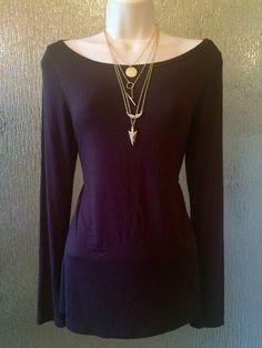 Dark Brown Long Sleeve Rayon Top by ING size Large #ing #Blouse