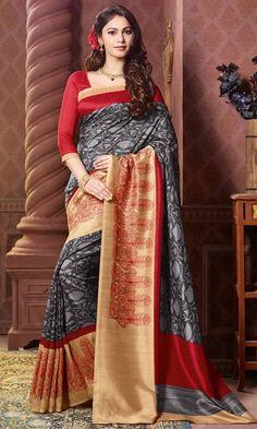 #Gray and #Red #Bhagalpuri #Printed #Saree, #Printed #Bhagalpuri #Silk #Sarees Collection, http://www.ishimaya.com/sarees/all-collections.html – Ishimaya