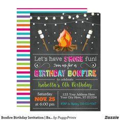 Bonfire Birthday Invitation | Backyard, Camping Bonfire Birthday Party, Backyard Birthday Parties, Birthday Diy, 10th Birthday, Birthday Ideas, Birthday Cards, Birthday Gifts, Camping Birthday Invitations, Backyard Camping