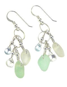 Authentic Sea Glass Dangle Earrings Seafoam Tones Sterling Silver -- Be sure to check out this awesome product.