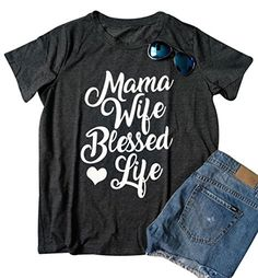 Mama Wife Blessed Life T-Shirt Women's Letters Print Short Sleeve Casual Top Blouse – Food, Wine & Poopy Diapers