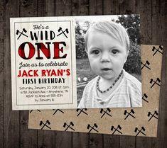 Lumberjack Wild One Birthday Invitation, Boy First Birthday Invite, Buffalo Plaid Wild One Birthday Invitations, Invitation Card Birthday, Invitation Cards, Invite, Boy First Birthday, 1st Birthday Parties, Lumberjack Birthday Party, Wild Ones, Buffalo Plaid