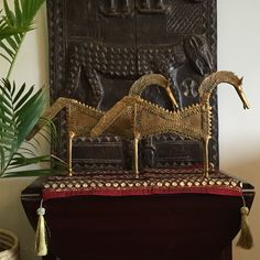 Brass horses from Orissa, carved wooden door from Mali, African art, Indian art, Indian decor, global decor