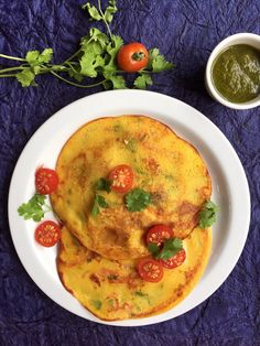 Recipe for the vegan Tomato Omelette from Udupi Hotels in Bombay | Vegan Chickpea flour and tomato pancakes | Besanache Dhirde - A healthy all-day-breakfast recipe for you to try!