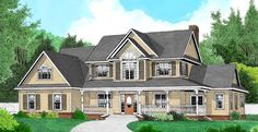 I really like this farm house and the plans I can work with Elevation of Country Farmhouse House Plan 96865