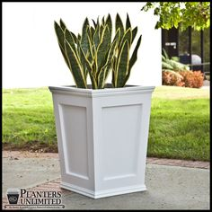 The Cape Cod tapered planter completes any space with its robust quality and refined design. Forged from a commercial grade material, known as Cellular PVC, these stylish planters offer a versatility that makes it a competitor in its class. Cellular PVC o Concrete Planter Molds, Wooden Garden Planters, Fiberglass Planters, Garden Pots, Outdoor Planter Boxes, Large Outdoor Planters, Modern Planters, Commercial Planters, Cement Flower Pots