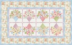 Bouquet Runner designed by Robert Kaufman Fabrics. Features Emma, shipping to stores August 2016. FREE pattern will be available to download from robertkaufman.com in June 2016. #FREEatrobertkaufmandotcom