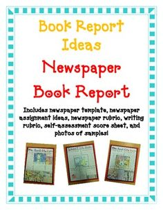 BOOK REPORT- Newspaper Report Fun Easy Directions Artistic