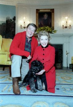 """President Ronald Reagan and Nancy Reagan posing with their dog """"Lucky"""" at the White House. Description from pinterest.com. I searched for this on bing.com/images"""