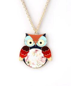 Floral Owl Necklace.
