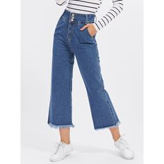 SheIn(sheinside) High Waist Button Front Raw Hem Wide Leg Jeans ($20) ❤ liked on Polyvore featuring jeans, blue, wide leg blue jeans, raw hem jeans, long high waisted jeans, high rise wide leg jeans and summer jeans