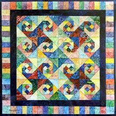 Watercolor - Painted Quilt ~ This design has two names. ONe is Snails Trails, the other is Square Dancing. I like the latter, best.