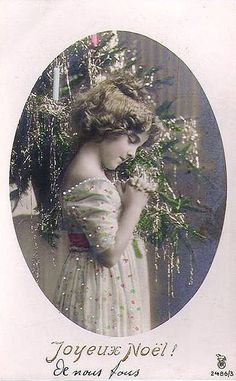 Late Victorian/ early Edwardian Christmas card - French #vintage #Christmas #tintedphoto