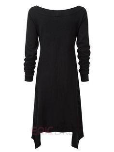 Ericdress Plain Asymmetric Round Neck Long Sleeve Casual Dress Casual Dresses