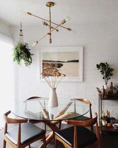 Dining room makeover in process via @NewDarlings featuring Minted Art. Interior Design Inspiration.