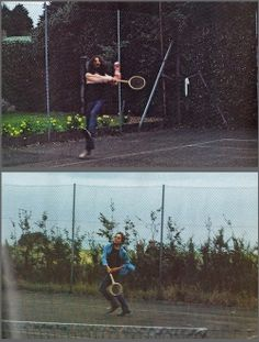 Bob Dylan and George Harrison play tennis in 1969