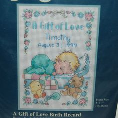 Sunset Jiffy Gift of Love Baby Birth Announcement Record Cross Stitch Pattern #Sunset #Sampler