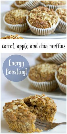 Energy Boosting Carrot, apple, and chia muffins. Healthy snack idea