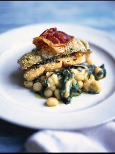 Roast trout with spinach, sage & prosciutto serve it on a bed of pulses and nutmeg-spiked spinach by Jamie Oliver Trout Recipes, Seafood Recipes, Pasta Recipes, Dinner Recipes, Dinner Ideas, Spinach Recipes, Healthy Recipes, Baked Salmon, Baked Fish