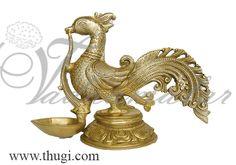 Peacock brass diya
