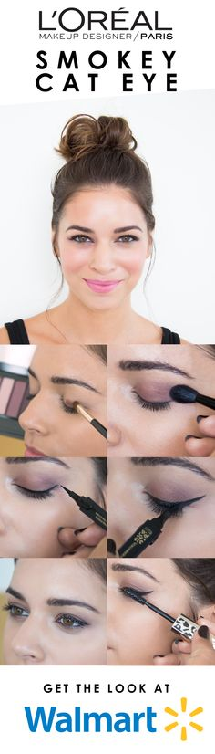 How to get a gorgeous smokey cat eye look for fall: 1. Apply shade #7 of La Palette Nude Intense eye shadow and blend to cover lid. 2. Apply shade #9 to outer crease and blend out. 3. Using Voluminous Liner Noir, draw an even line along the upper lash line, and wing out at the end. 4. Go back over the line to thicken and intensify. 5. Apply Voluminous Lash Primer to lashes on one eye. 6. On the same eye, apply Voluminous Feline Noir mascara for instant volume. Repeat steps 5-6 on the other…
