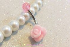 Cute belly rings, small 8mm pink rose belly button jewelry 14 gauge | YOUniqueDZigns - Jewelry on ArtFire