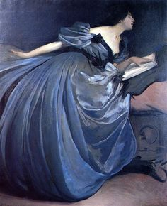 John White Alexander.  Wow brush strokes. When an artist paints like this it is referred to as a loaded brush stroke. Meaning each stoke is important and seen not blended.