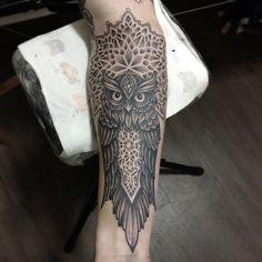 Owl for Alex today #tattoo #dotwork #dotworktattoo #mandala #mandalatattoo #owl #owltattoo ...