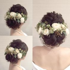 お花×グリーンを飾ったナチュラル系シニヨンヘアまとめ   marry[マリー]