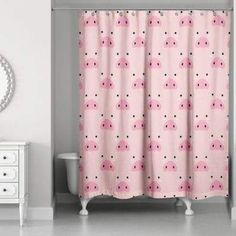 #ad #pigs Designs Direct Pig Face Friend 74-Inch Shower Curtain in Pink