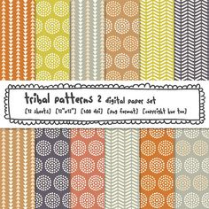 digital paper printable tribal patterns circles by huetoo on Etsy, $5.00