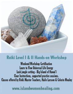 Pahoa, HI Weekend Reiki Level l & ll Hands-on Workshop Certification in the lush quiet jungle setting on the Big Island of Hawaii. Learn to Flow Universal Life Energy for yourself and others. Clear inst… Click flyer for more >>