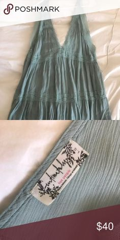 NWT Free People Slip Dress Sz L beautiful mint green with lace inserts. too short for me because i'm 5'11. New with tags condition. Free People Dresses Mini