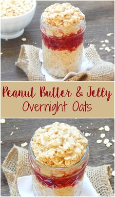 Who said peanut butter and jelly was just for kids? Try these Peanut Butter & Jelly Overnight Oats and really wake up in the morning! Overnight Oats In A Jar, Peanut Butter Overnight Oats, Overnight Breakfast, Peanut Butter Roll, Tasty, Yummy Food, Healthy Food, Yummy Yummy, Healthy Eating