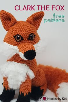 The latest stuffed animal pattern from Hooked by Kati, Clark the Fox is for advanced crocheters, with fun shaping, brushed loop stitches, and expressive eyes. His pattern is free or, as always, available with more assembly pictures as a Premium Pattern. Easy Crochet Animals, Crochet Birds, Crochet Dolls, Free Crochet, Amigurumi Patterns, Crochet Patterns, Stuffed Animal Patterns, Stuffed Animals, Bobble Stitch