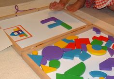 On our Montessori shelves - make pictures using Imaginets magnetic wooden shapes || Gift of Curiosity