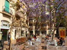 A square in Gracia district. Barcelona, Catalonia