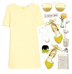 """""""Sunshine"""" by finding-0riginality ❤ liked on Polyvore featuring Mykita, Steve Madden, MANGO, Marc Jacobs, Diptyque and PEONY"""