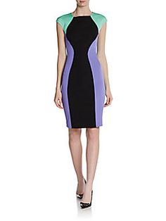 Versace Collection - Colorblock Cap-Sleeve Dress