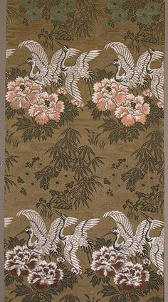 """MARLA MALLETT            Japanese Maru Obi  Meiji period. Circa 1900.  12""""x 148.""""  Silk brocading, with cranes, peonies and bamboo motifs. This lovely obi is decorated on both side for its full length."""