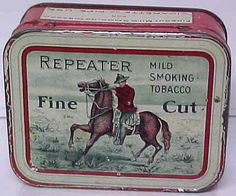 """REPEATER FINE CUT SMOKING TOBACCO TIN CAN.Measures 3 1/2"""" in length X 2 3/4"""" in…"""