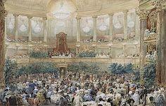 1855 Visite de la reine Victoria à Paris en 1855, le souper offert par Napoléon III dans la salle de l'Opéra du château de Versailles, le 25...