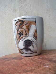 Bulldog mug French Bulldog, Porcelain, Hand Painted, Mugs, Tableware, Animals, Porcelain Ceramics, Dinnerware, Animales