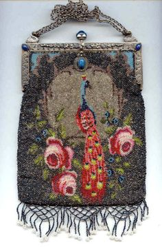 Figural Peacock and Roses Beaded Purse w/ Lattice Fringe in Lapis Jeweled Frame