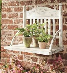 Turn a OLD CHAIR into a HANGING PLANT SHELF....this is such a great idea. Love this via The Shabby Creek Cottage