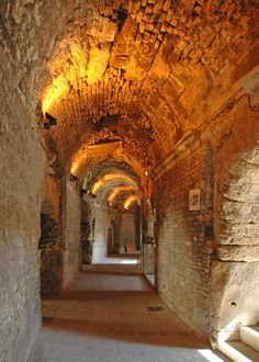 Nîmes ~ An inside passage of the Roman arena.