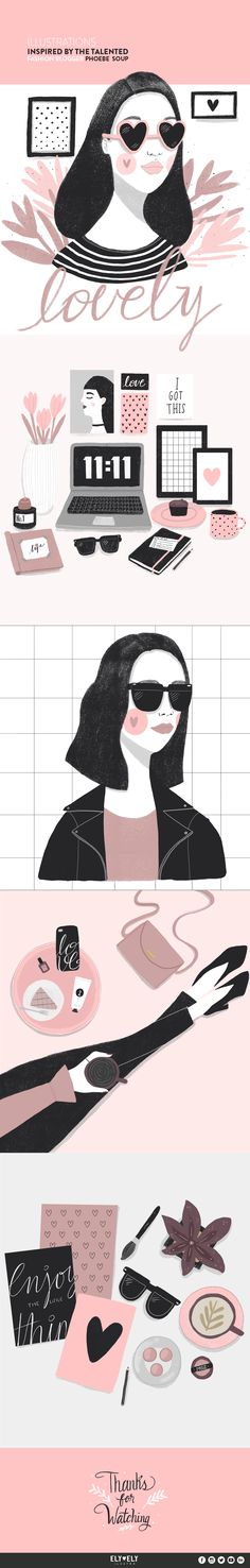 This illustrations are inspired by the talented fashion blogger Phoebe Soup. I really love her work.