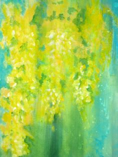"YELLOW FLOWERS original abstract painting-LABURNUM 18""x18"" yellow blue green"
